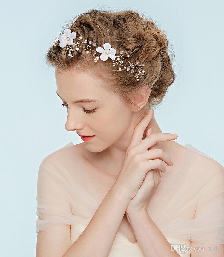 Women Girl Bride Wedding Crystal Pearl Hair Band Garland Flower Headband Bridal