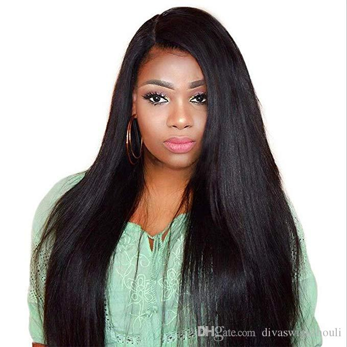 250% densidade mink brasileiro brasileira reta reta dianteira peruca de cabelo humano pré-arrancada 360 laço frontal peruca natural cabelo livre navio