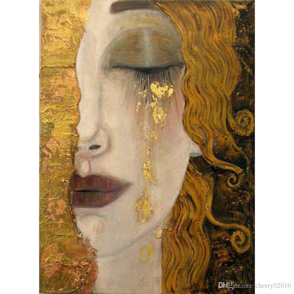 Wall art Золотые слезы Густава Климта репродукция картины маслом женщина в золоте красивые произведения искусства для декора спальни ручной работы высокого качества