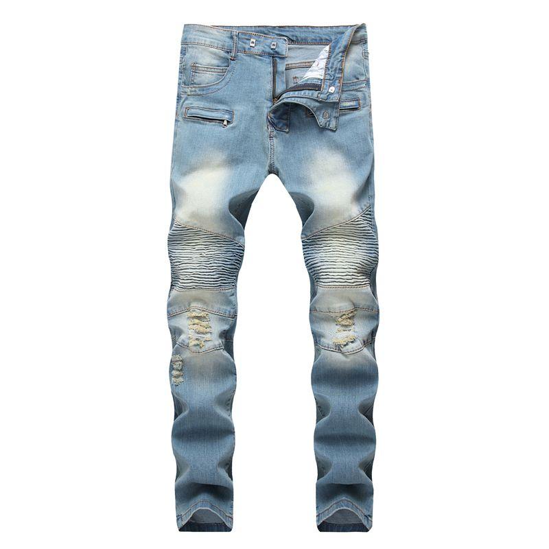 Compre Hombres Jeans Rasgados Desgastados Disenador De Moda Motocicleta Recta Motociclista Jeans Pantalones De Mezclilla Causales Streetwear Style Mens Jeans Cool Mens A 22 9 Del Sport1688 Dhgate Com