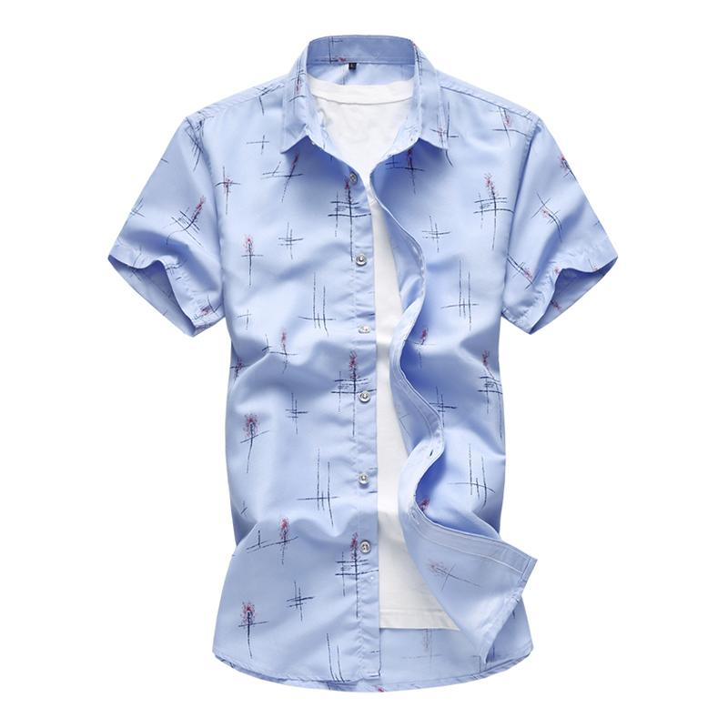2020 nuovi uomini di estate casuale camicia della stampa di modo Camicia a maniche corte Slim hawaiana marchio di abbigliamento taglie forti 5XL 6XL 7XL