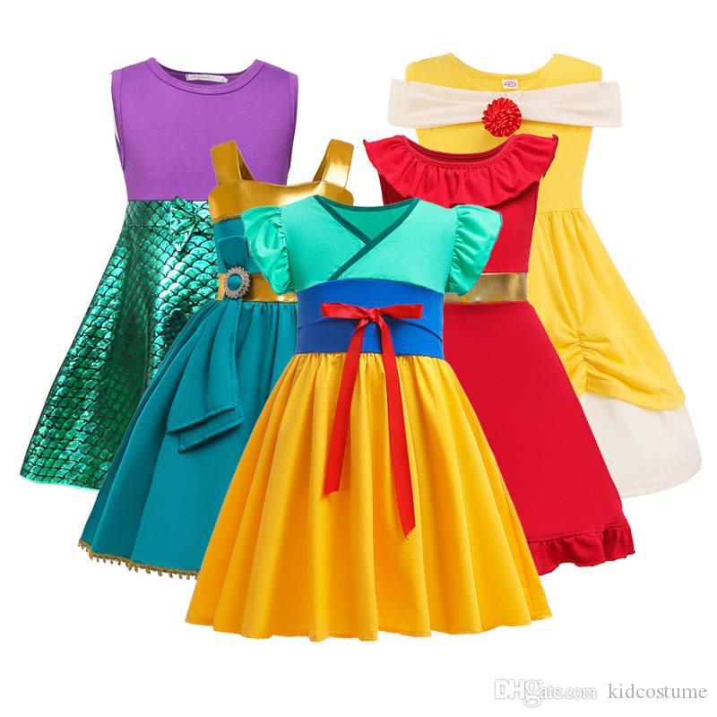 Costume Mulan estate per la neonata Abiti Merida Elena Mermaid Kid Fino Disguise Cosplay del partito Frock Bambini Cerimonia principessa Tunica