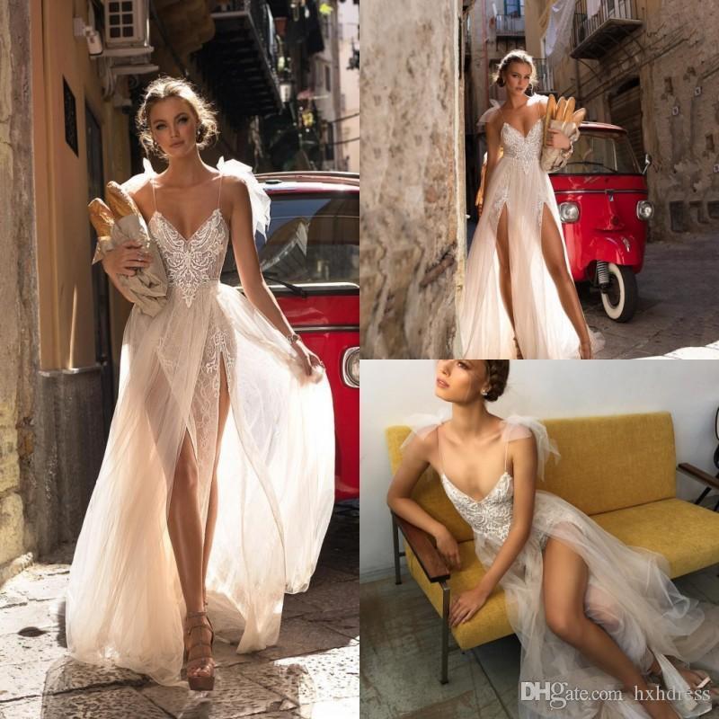 Berta Wedding Dresses Spaghetti Lace Tulle Applique Sweep Train Side Split Sexy Beach Bridal Dress Backless Plus Size Boho Wedding Gown 4351