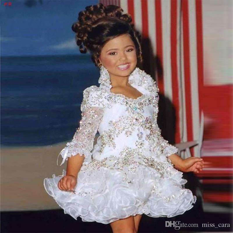 Glitz Pageant Robes Pour Les Filles Petite Fille Robes Manches 3/4 Perles Cristal Strass Ruffles Robe De Pageant Cupcake