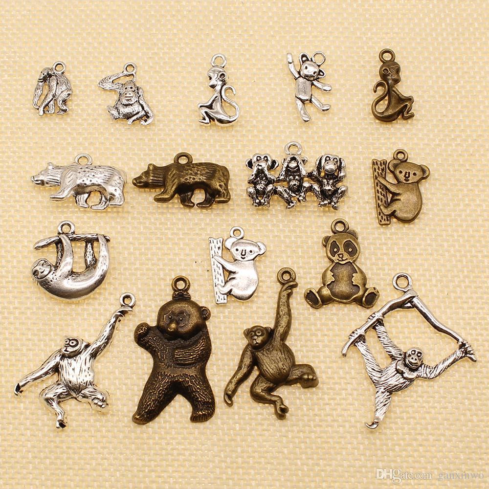 40 Pieces Silver Charm Or Pendants Jewelry Making Animal Monkey Orangutan Koala Bear Panda Sloth HJ028