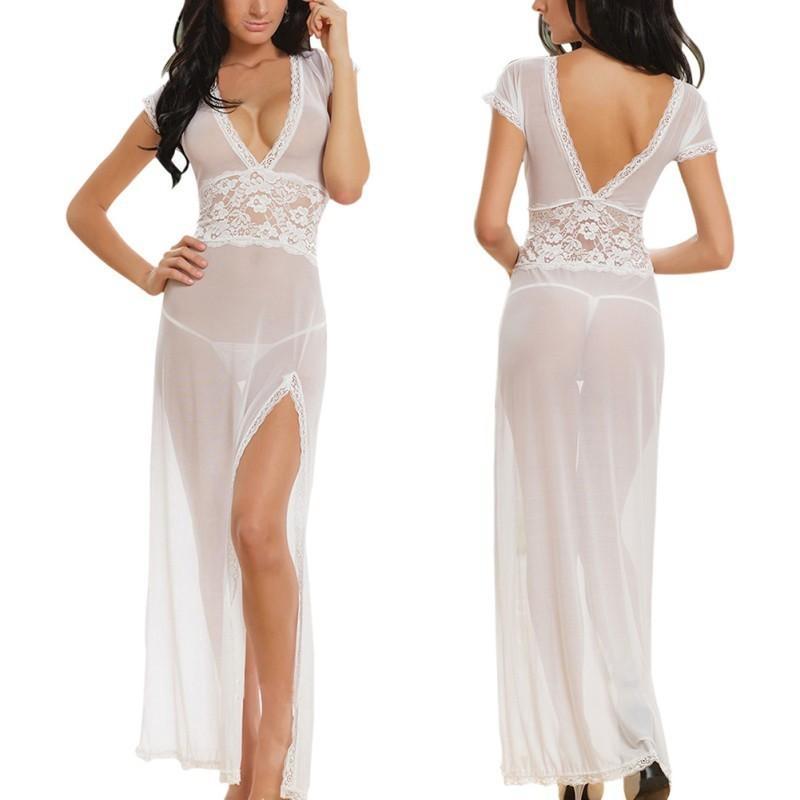Women Sexy Lace G-string Briefs Dress Set Nightwear Baby Dolls Dresses See Through Comfortable Underwear Lingerie Sleepwear