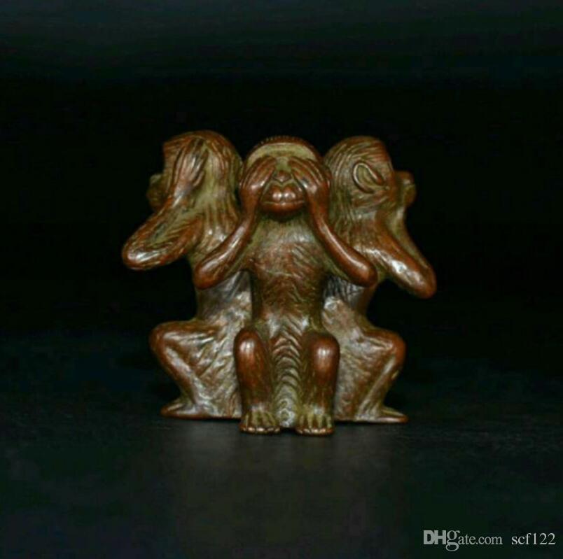 Neue drei nicht Affe reines Kupfer Deckel Tee-Set Tee Haustier Ornamente Eisentopf Deckel Topf Deckel Teezeremonie Zubehör