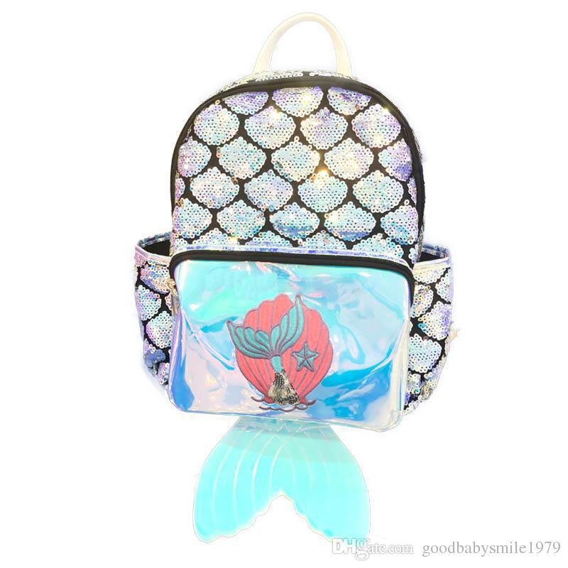 Mermaid laser Children Backpacks sequin Girls Backpacks fish tail kids party bag cartoon Fish scale baby School Bags
