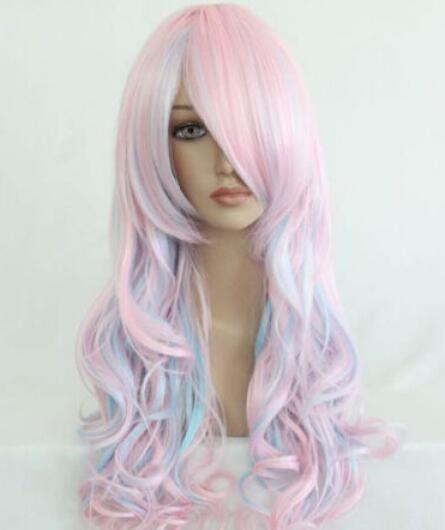 무료 배송 + + 핫 판매 로리타 내열성 긴 곱슬 라이트 블루 혼합 핑크 패션 헤어 가발