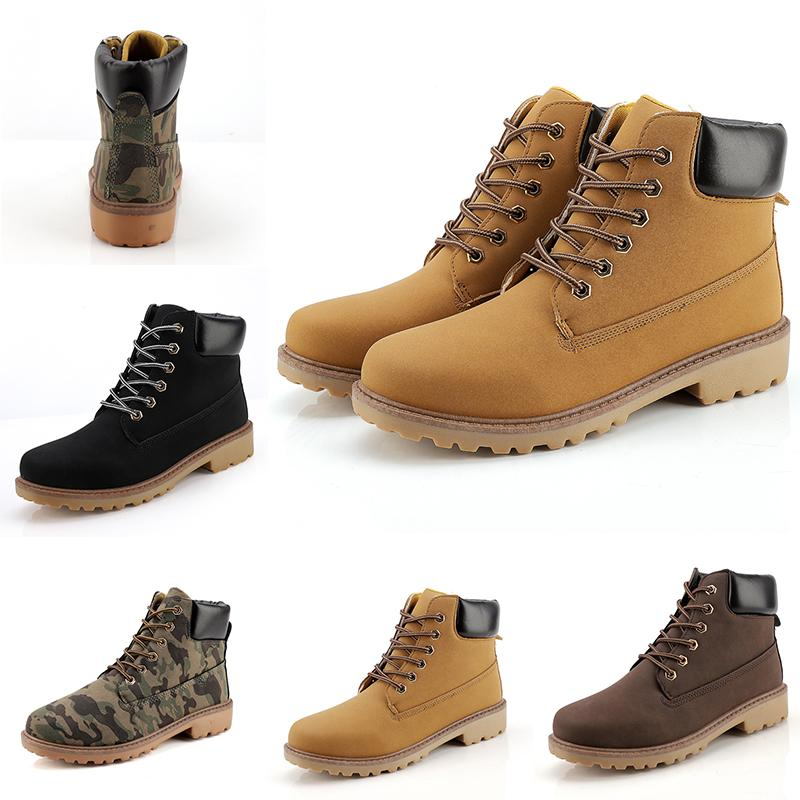 2020 Fashion Leather Designer boots Lead the trend Men boots Camouflage black brown boots winter autumn Homemade brand Made in China 39-44