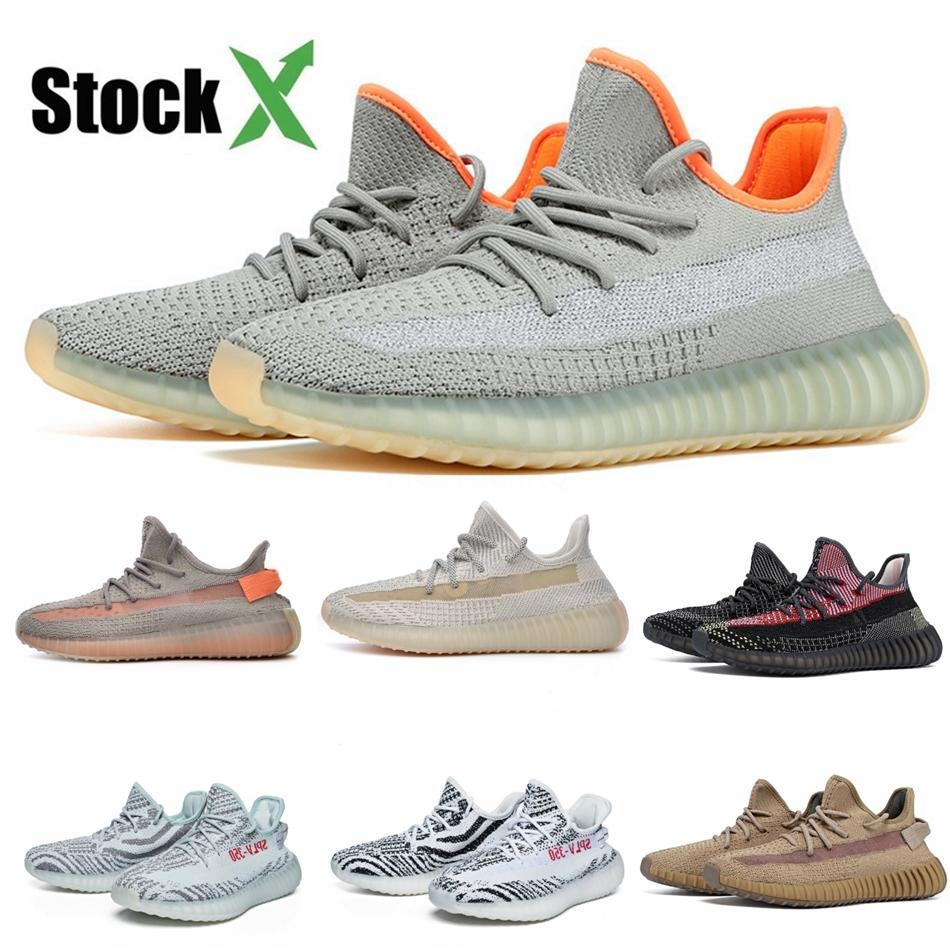 Toptan Ayakkabı Kanye West Statik Tereyağı Zebra Siyah Krem Beyaz Spor Zapatos Sneakers Us5-12.5 # DS972 Bred Running 2020 Hava Tasarımcı