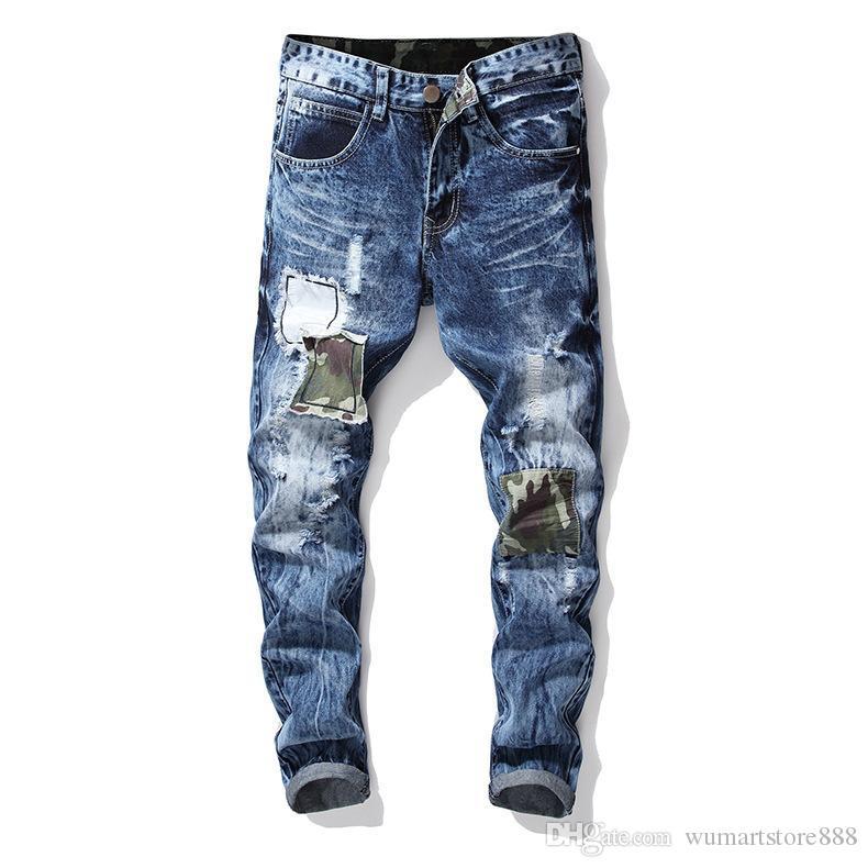 Mens Denim Jeans Bordado Crachá Em Linha Reta Macho Skinny Lavado Grande Calça Jeans Calças De Brim Com Zíper 1 pc