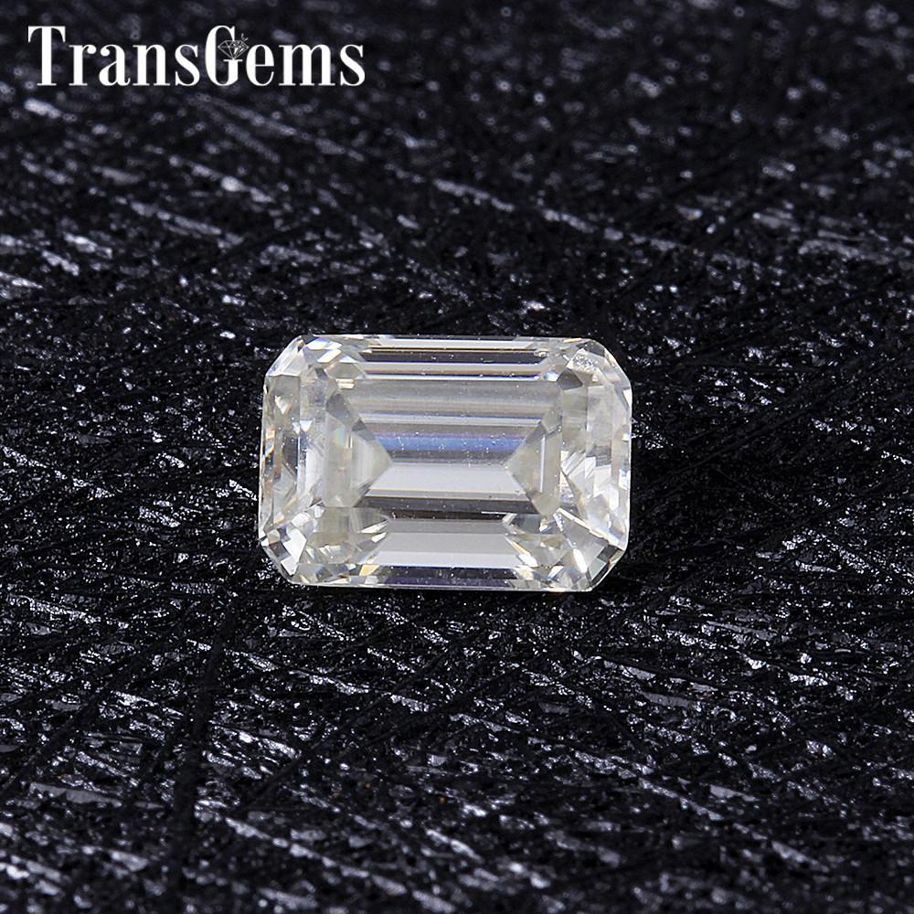 TransGems 1 ct 5mm * 7 millimetri H Colore taglio smeraldo Moissanite diamante pietra allentata come diamante reale Y200620