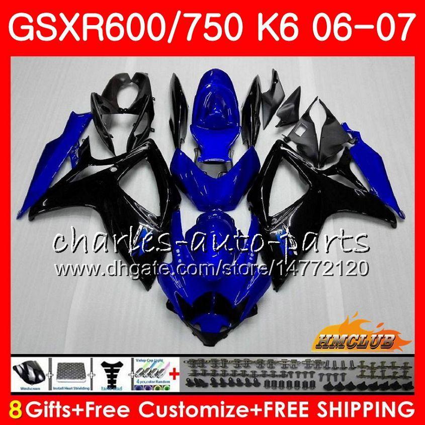 Corpo per Suzuki GSX R600 GSX R750 GSXR600 2006 2007 8HC.34 GSX-R600 GSXR-750 K6 GSXR 600 750 06-07 GSXR750 06 07 Blue Flames Kit carenatura a caldo
