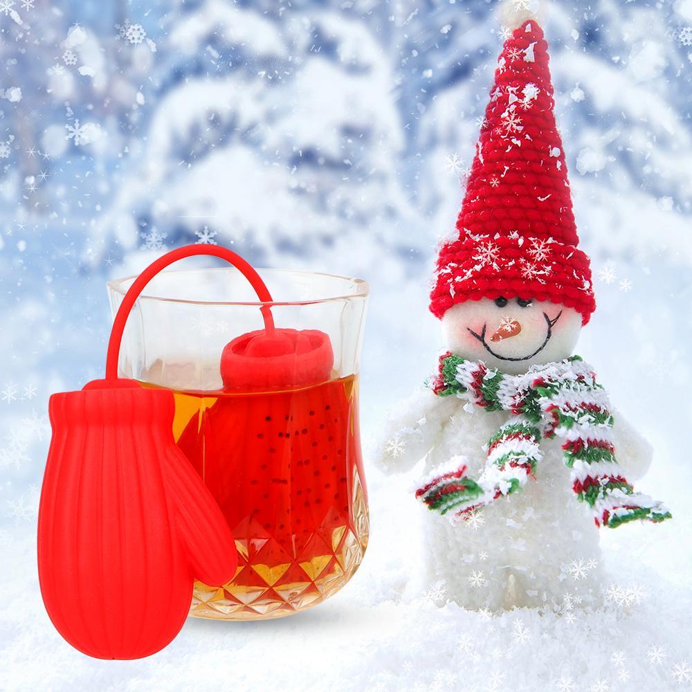 Forma guantes de té Filtro coladores Santa Claus silicona té café infusor Filtro regalo del favor de fiesta Decoración mesa de Año Nuevo