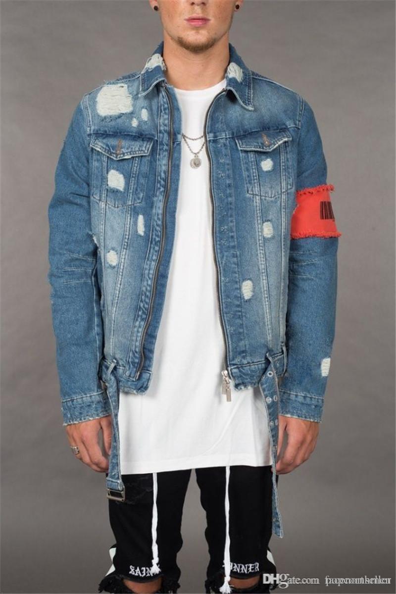 Designer adolescente Jean Casacos Designer de Inverno Rasgado Afligido Zipper Fly Jean Casacos Moda Casaul Mens Streetwear