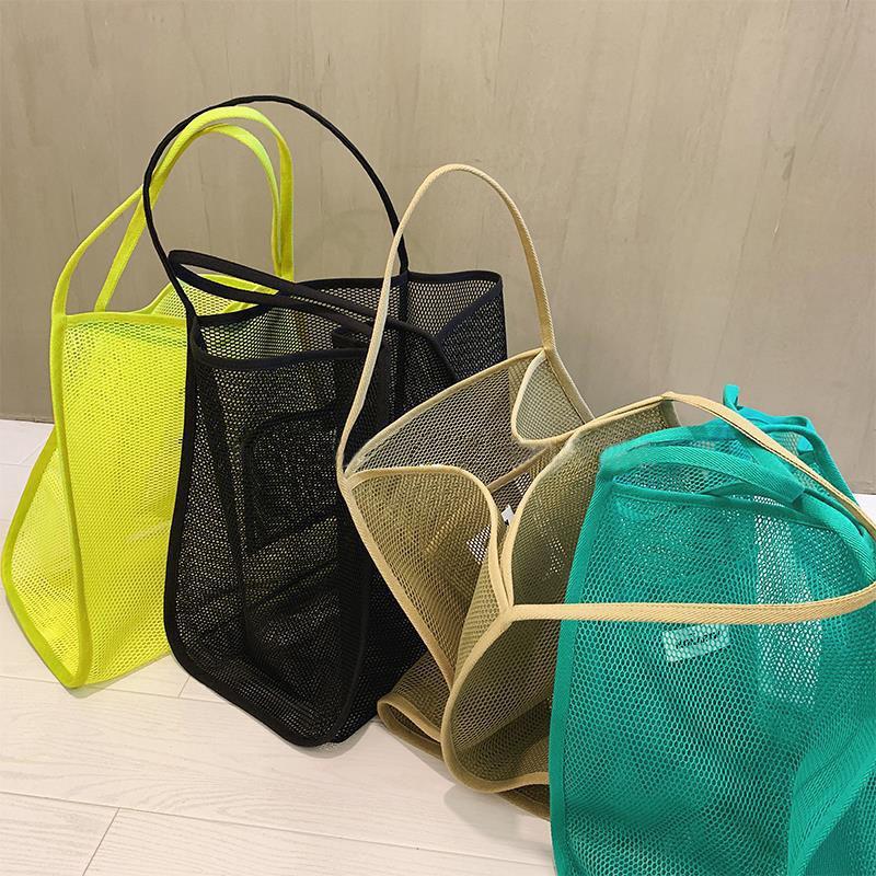 New ins transparent Mesh shoulder bag big large capacity Shopping Bag Tote Bag women handbag Beach Bags Travel Handbag