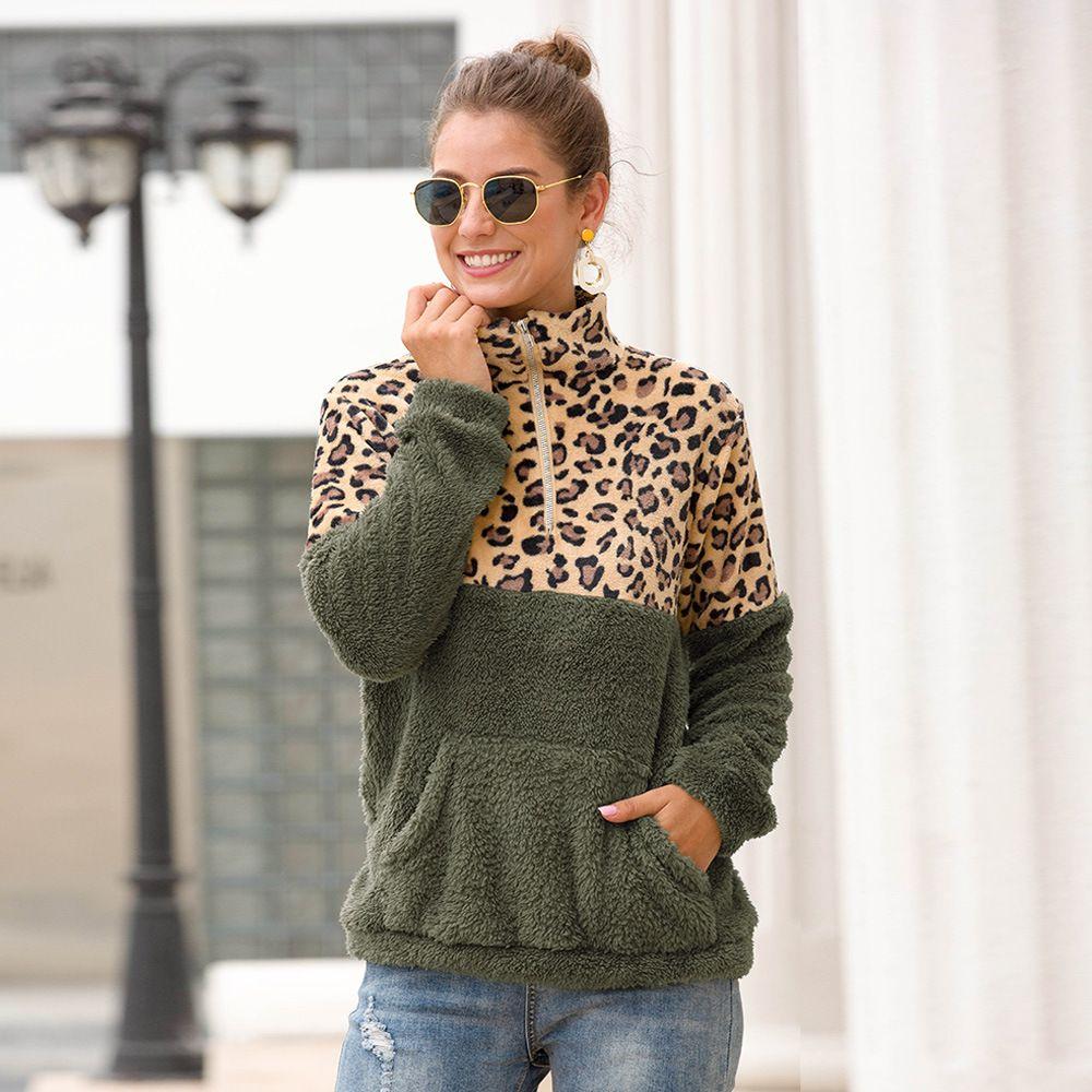 Free Shipping Original Popular Style Leopard Print Splice Plush Long Sleeve Plus Velvet Guard Dress Female Winter Coat Discount Store