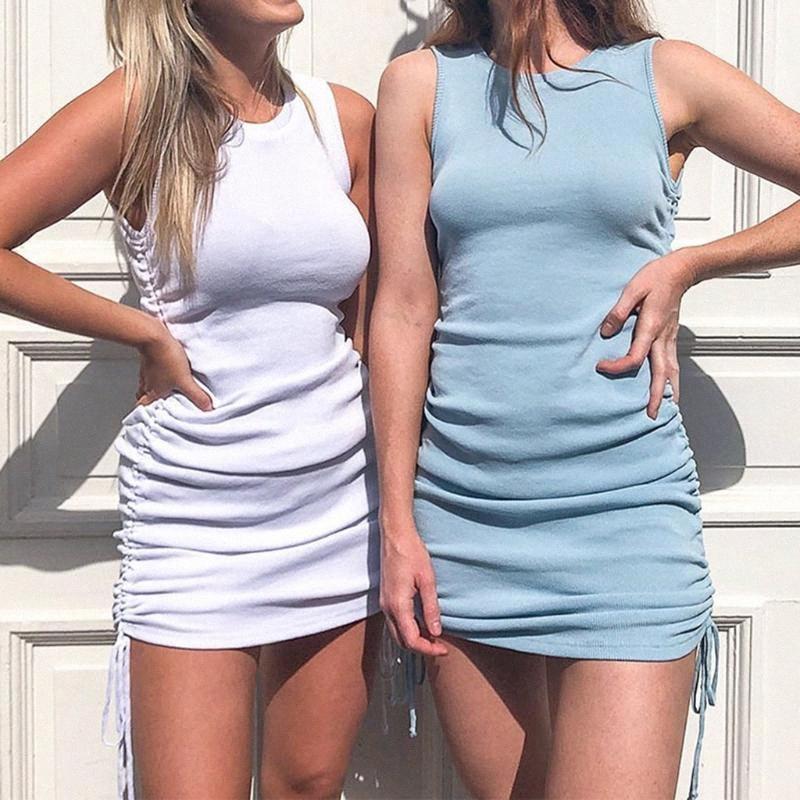 Seksi Mini Kolsuz Elbise Clubwear Yaz 2020 Dantelli İpli BODYCON Elbise Kadınlar Partisi Bayanlar Katı Skinny Şık Robe Y2p7 #