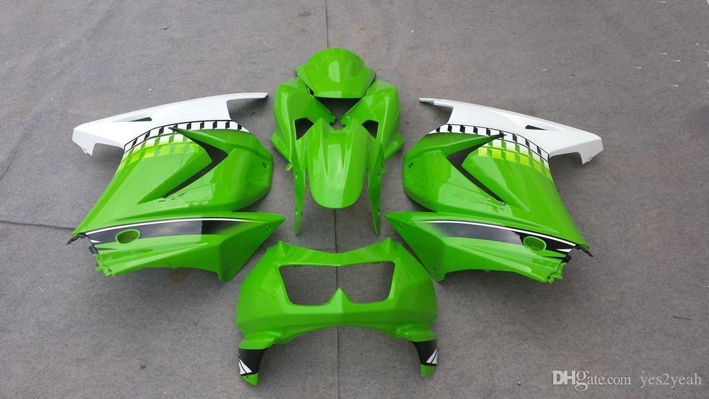 Zestaw dochodów wtryskowych dla Kawasaki Ninja ZX250R 08 10 12 Ninja ZX 250R 2008 2012 2012 EX250 White Green Wishing Body Zestaw