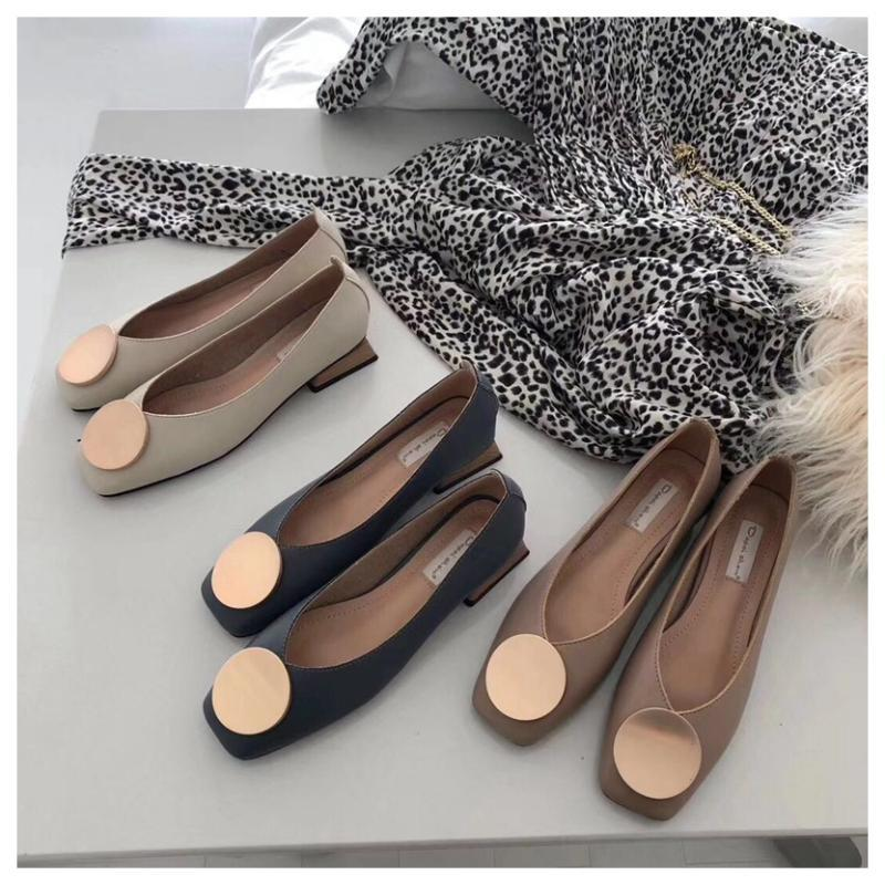 Women Flats Shoes Low Wooden Low Heel Ballet Square Toe Shallow Buckle Shoes Slip On Loafers zapatos de mujer