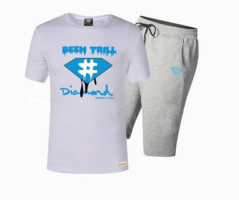 5667 Spedizione gratuita s-5xl T-Shirt e pantaloni Uomo Hip Hop Pocket Print Collo estivo Tute