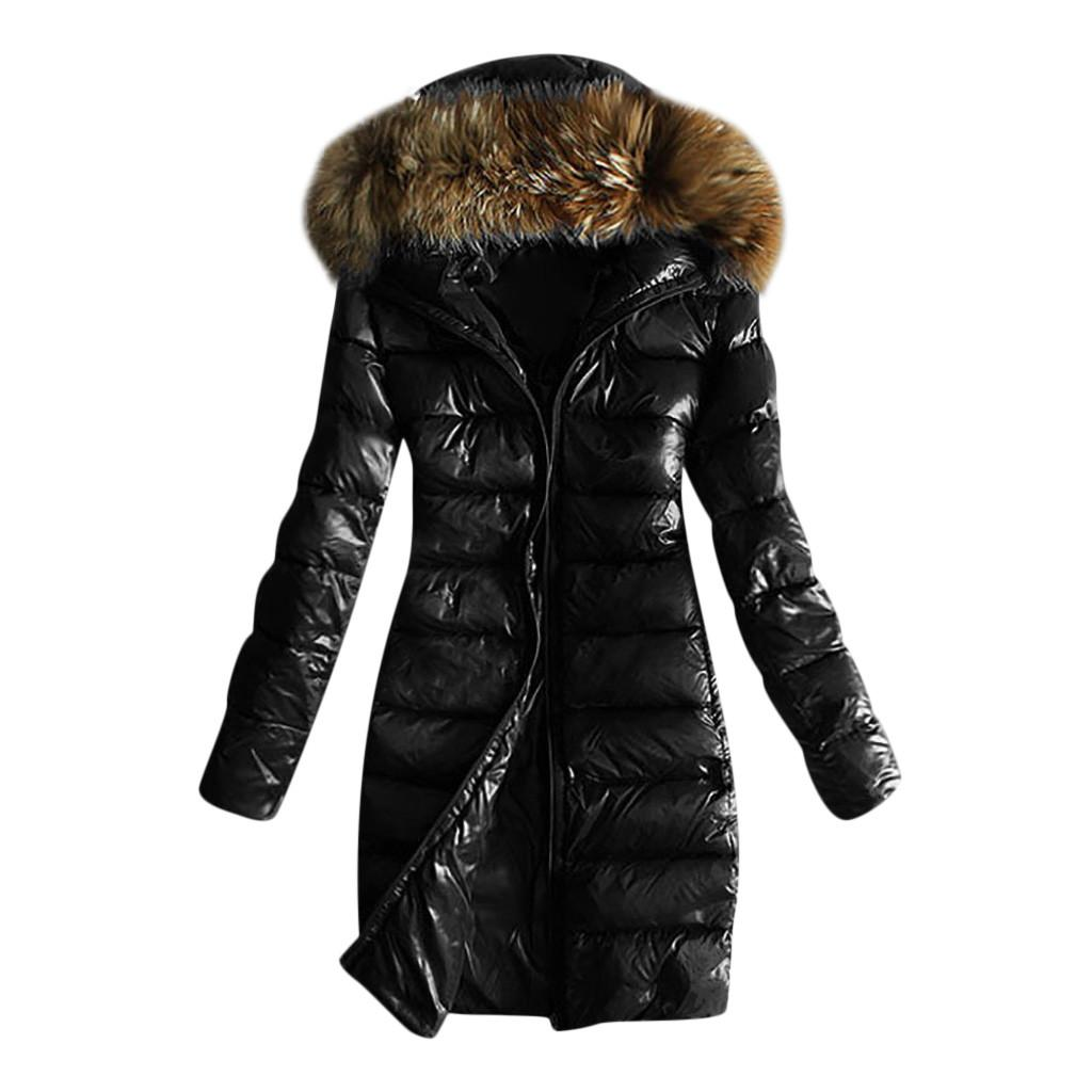 Hoodie Parka Women Quilted Winter Warm Hooded Coats Long Sleeve Fur Collar Jackets Tops Casual Jackets Overcoat Female Outwear