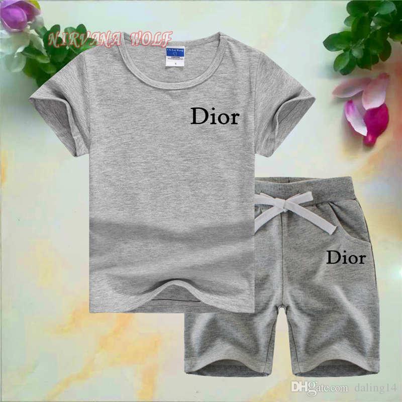DlOR Logo Luxury Designer Baby Clothing Set Baby Boys Girls Sport Suits Children Clothing Sets For Kids Cotton T-Shirt + Short Pants Infanti