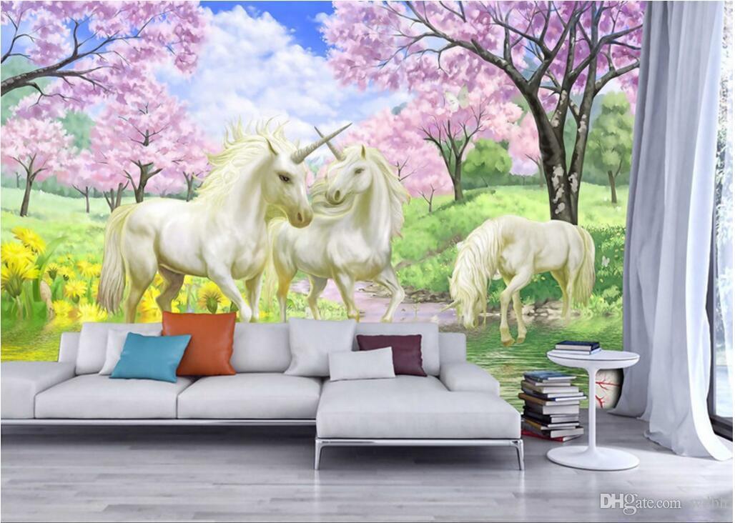 WDBH 3d wallpaper custom photo on a wall Dreamy cherry unicorn tv background home decor living room 3d wall murals wallpaper for walls 3 d
