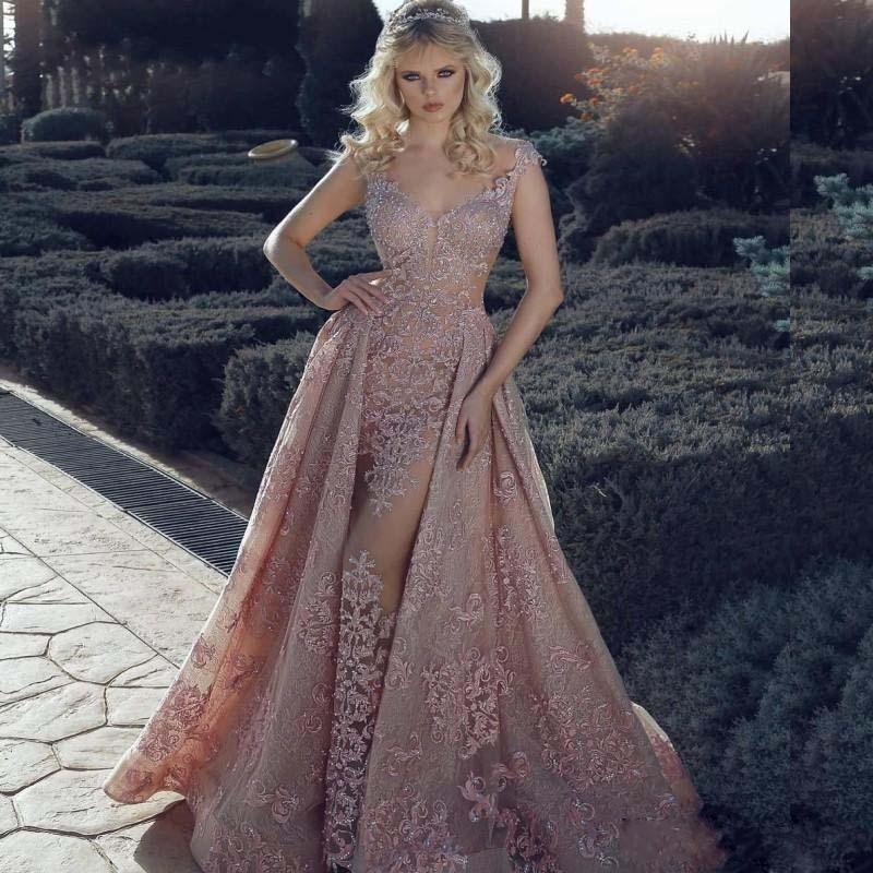 2020 Rosa Illusion Wear Sereia Vestidos overskirt colher Neck Lace apliques Beads celebridade Prom Dress Longo formal do partido