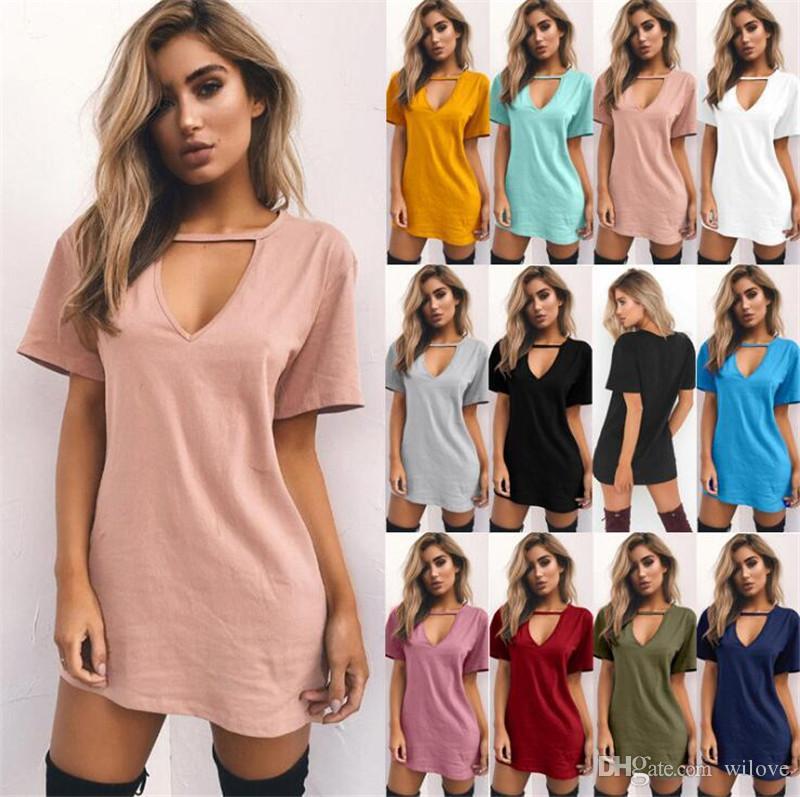 Новый S-3XL женщины вскользь сплошного цвет пуловер лето короткий рукав V-образный вырез Перемычка Верхней рубашка Блузка Tee Футболка