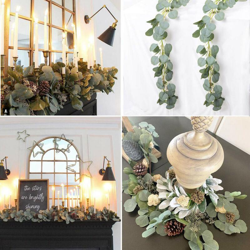 인공 가짜 유칼립투스 화환 긴 잎 녹지 단풍 버드 나무 식물 녹색 잎 홈 장식 실크 꽃 식물