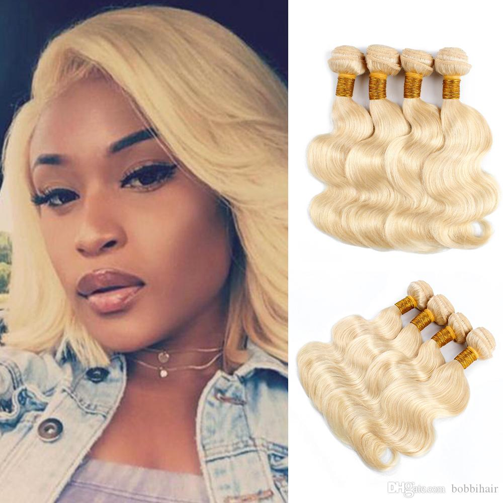 # 613 Pacotes de cabelos humanos loira Brasileira Brazil Body Wave Bob Style 10-12 polegadas 50g / pacote 4 Bundles Remy Human Human Extensões
