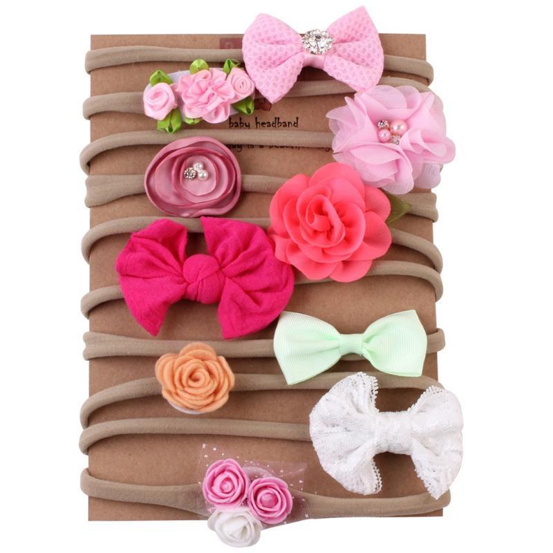 10 pcs Hairbands infantil lindo para niños de los bebés del nudo del arco Hairband accesorios de la venda Conjunto Barrettes Headwear bandeau
