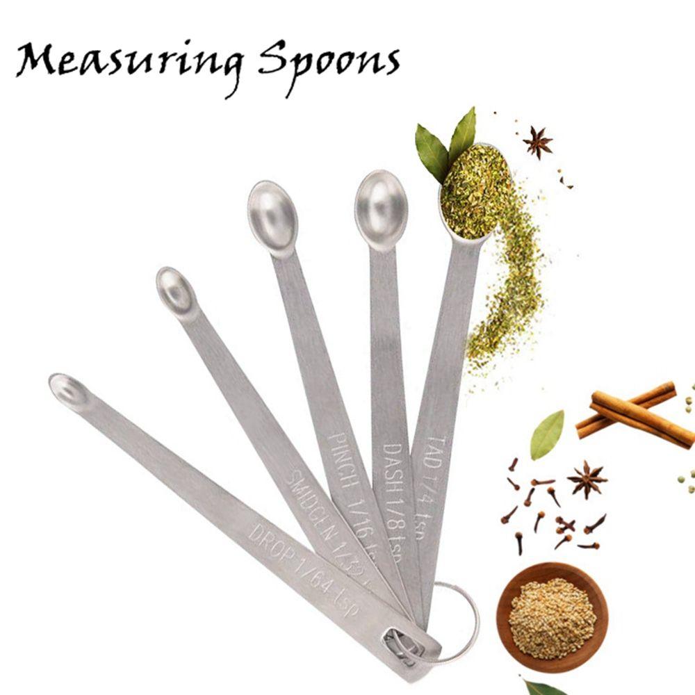 Redonda de acero inoxidable cucharas de medir 5pcs / set Hornear Cocinar para medir líquidos y herramientas Condimento Cuchara Kitche HHA1296