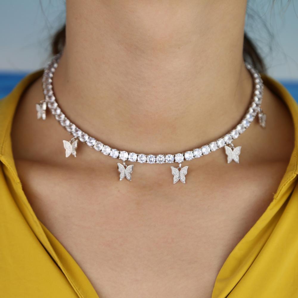 Kadınlar Partisi Yıldönümü Takı Tenis Zincir Hediye için Kelebek Salkım kolye Altın Gümüş Renk Moda CZ Kristal