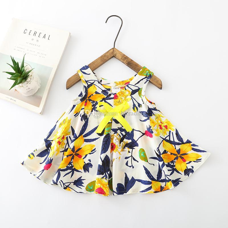 Baby girls Floral suspender Dress children Flower Dot print princess beach dresses 2019 summer Fashion boutique Kids Clothing 9 colors C6117