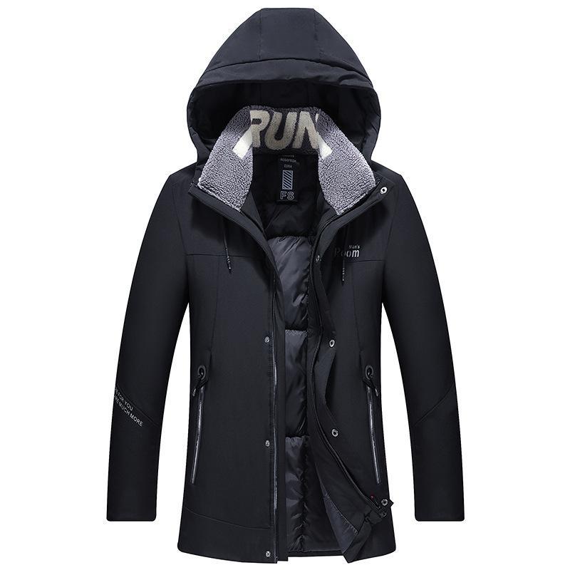 2019 Modo più lunga degli uomini Outwear caldo Cappotto del cotone con cappuccio maschile di qualità di marca casual impermeabile Windbreaker Large Size