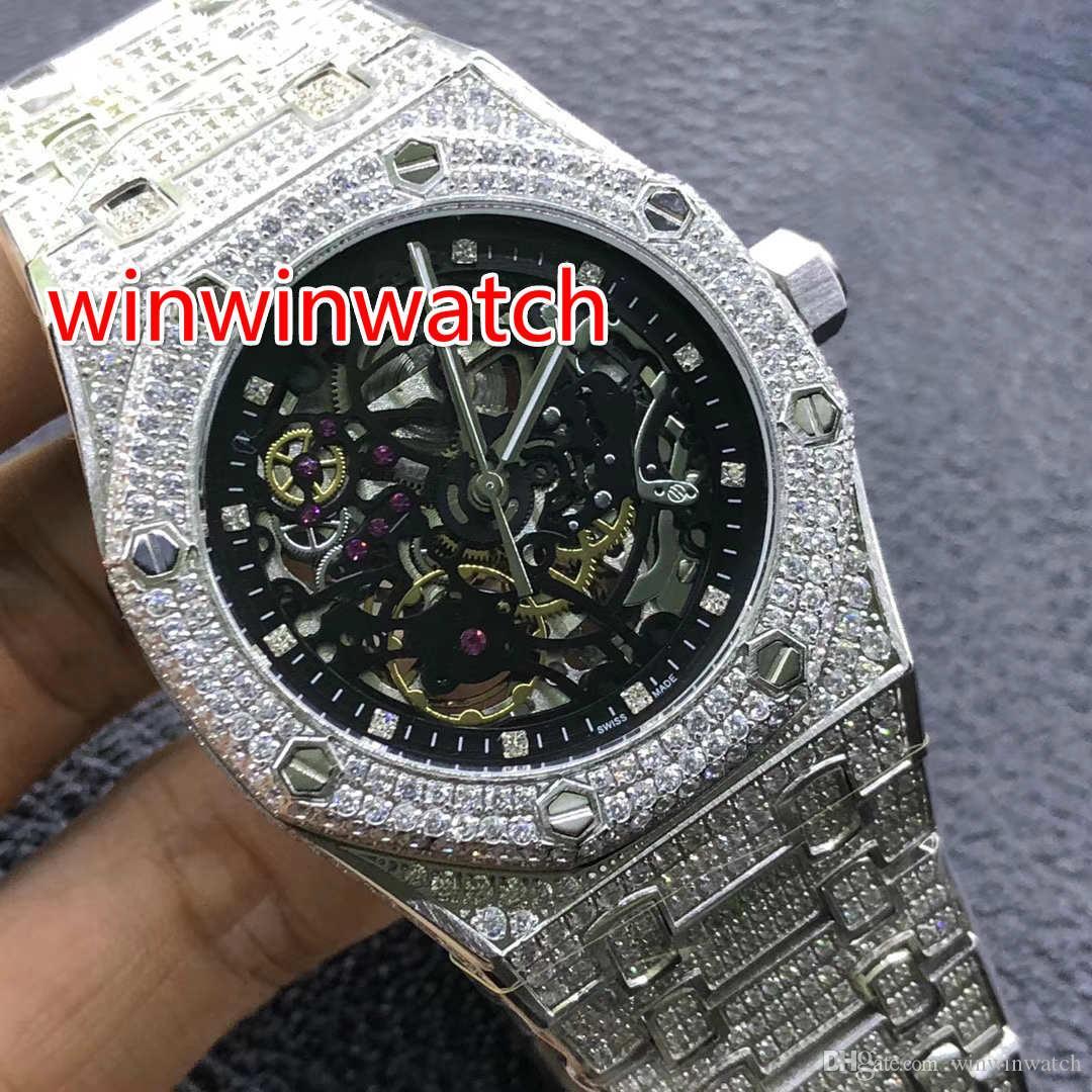 voll gefrorene Uhr Roségold und Silber Gehäuse Uhrglas zurück hohe Qualität Herren Diamant Armbanduhr Saphirglas Automatik