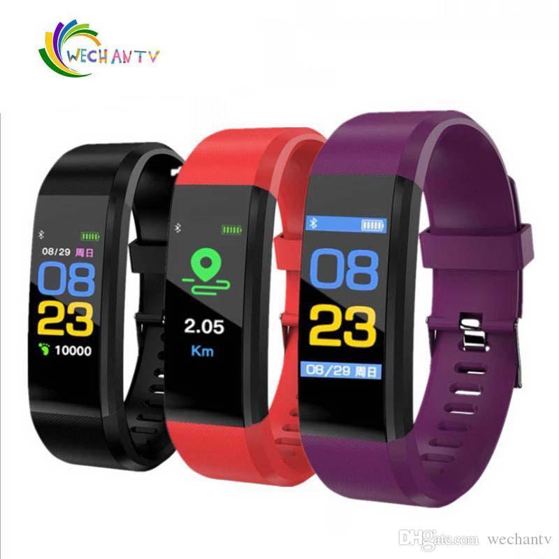 Per Apple Watch Schermo a colori ID115 Plus Smart Bracelet Fitness Tracker Pedometer Band Monitor della pressione sanguigna Smart Wristband