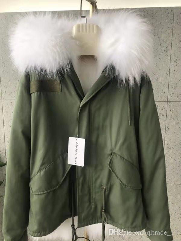 Boa qualidade de pele de guaxinim guarnição branca Mukla peles marca fox pele branca exército alinhado mini-mulheres verdes jaquetas com zíper YKK