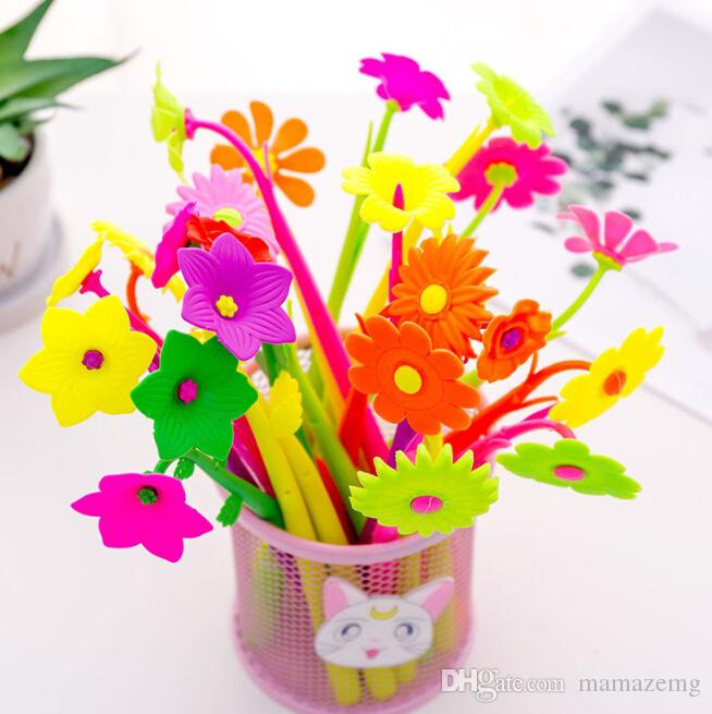 Korea Creative Stationery Cute Simulation Plant Flower Silicone Gel Pen Pen Student Prize Gift