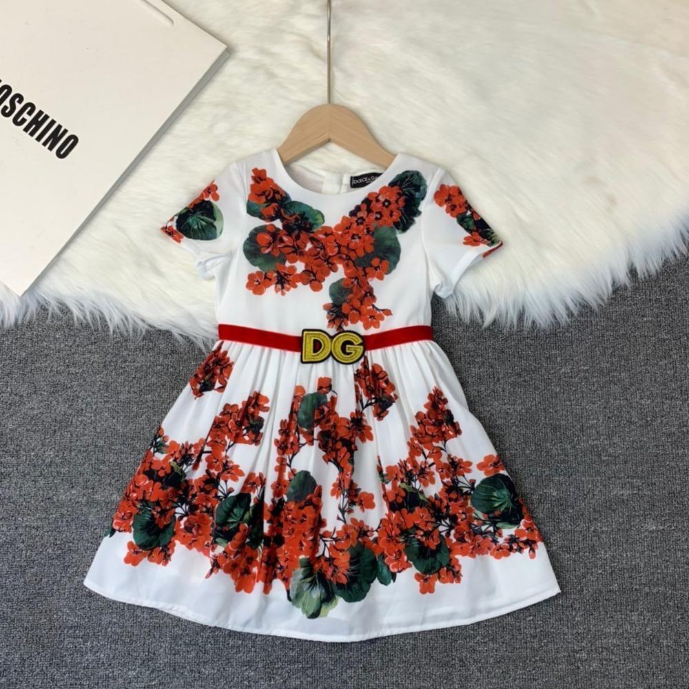 Les petites filles Princesse Summer Casual New manches courtes de haute qualité Robe imprimée 030911