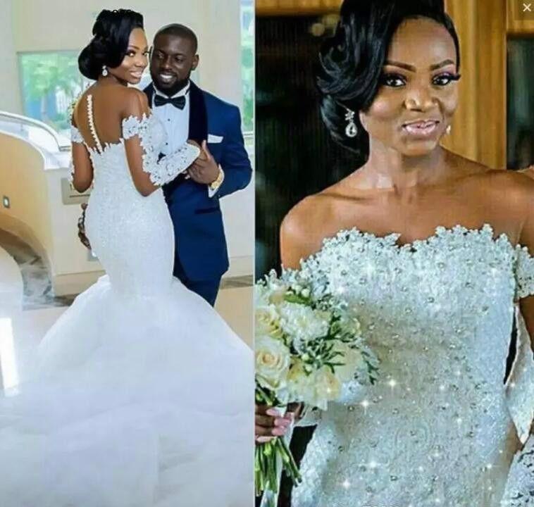 Langer Ärmel Mermaid Brautkleider 2020 South African Black Girls wulstigen Country Garden Formal Braut Brautkleider Plus Size
