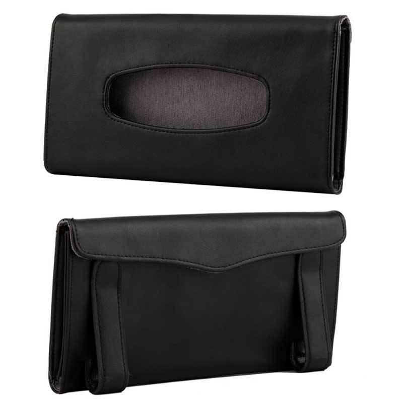 Universal Car Sun Visor Tissue Box Holder PU Leather Tissue Box Cover Case For Paper Auto Organizer Accessories