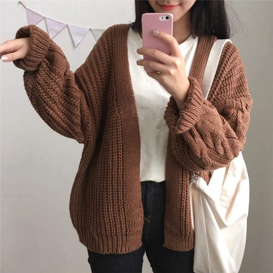 Moda-Otoño Nueva jersey de punto de las mujeres 2018 de la moda de Harajuku suelta Calentar Cardigan Mujeres Colegio casual SH190930 Escudo de invierno de la manga