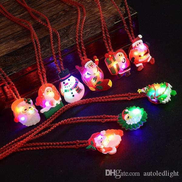 glow up flashing led necklace for christmas Kids Colorful Beads Chain LED Light Cartoon Santa Claus Pendant Necklace Party Favors