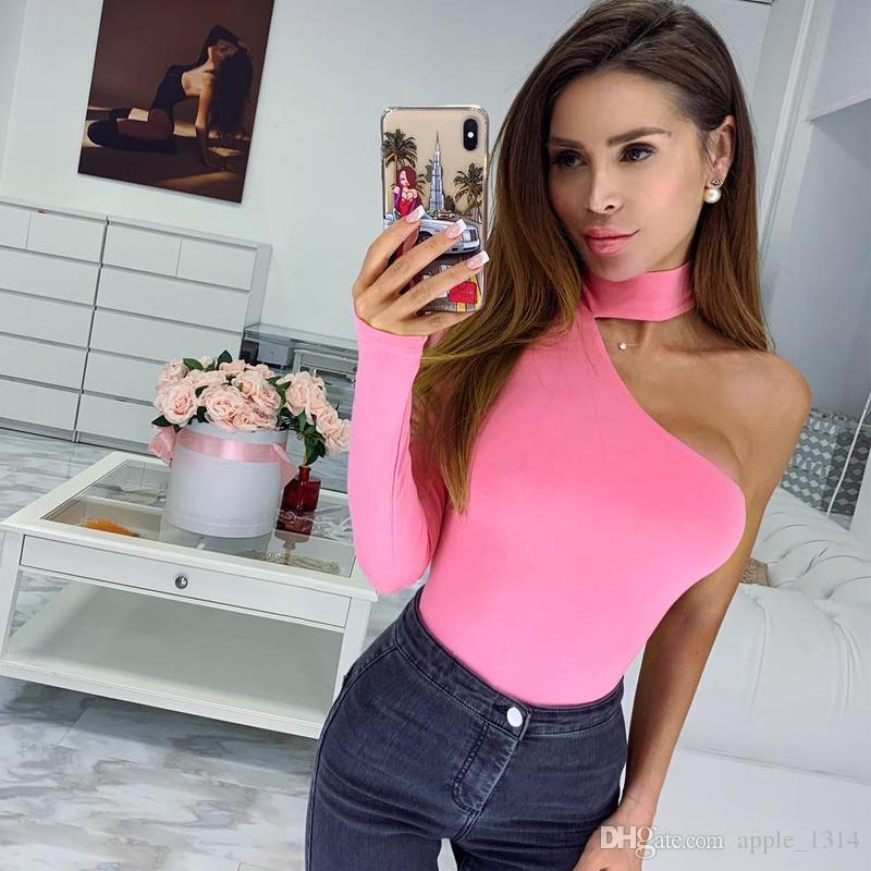 Sexy Overalls for Women Solid Color Bodysuit Halter One Shoulder Long Sleeve Tracksuit Bodycon Jumpsuit Catsuit Romper female