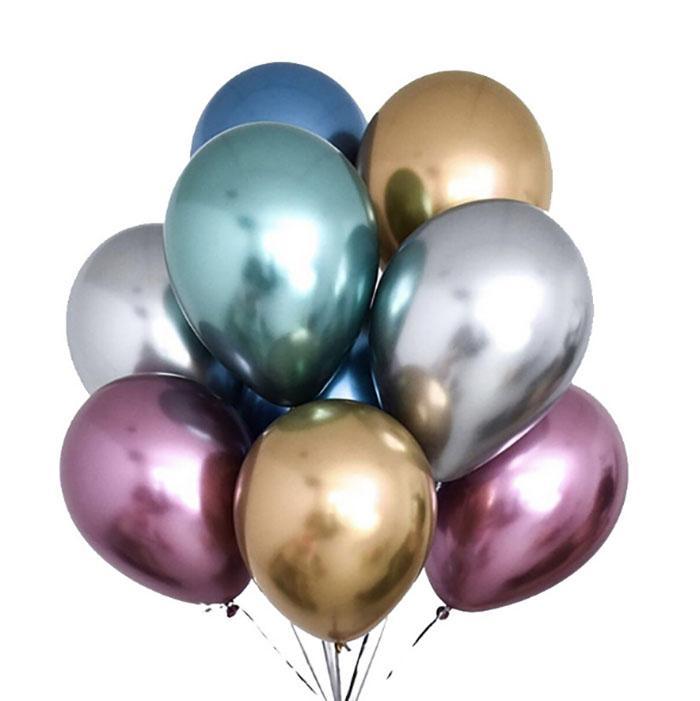 2020 새로운 50PCS / 세트 12 인치 광택 금속 진주 라텍스 풍선 두꺼운 크롬 금속 색상 풍선 공기 공 Globos 생일 파티 용 장식