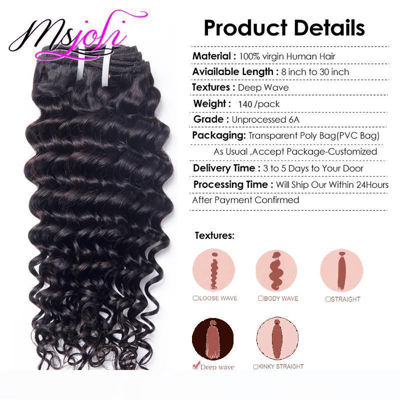 Profundo pinza de pelo de la Virgen del pelo humano en extensiones del procesado de Malasia onda rizada natural del color 7pcs 140g completo principal al por mayor precio de la Sra Joli